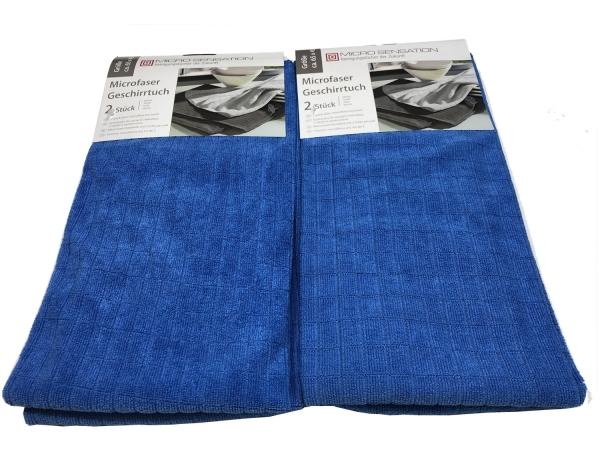 Micro Sensation Microfaser Geschirrtuch Handtuch 65x45cm - 4er Blau