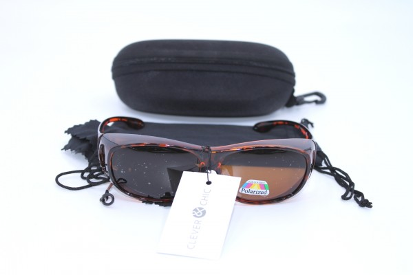 Überbrille - Sonnenbrille Polarisierend Braun Leo Flexbügel