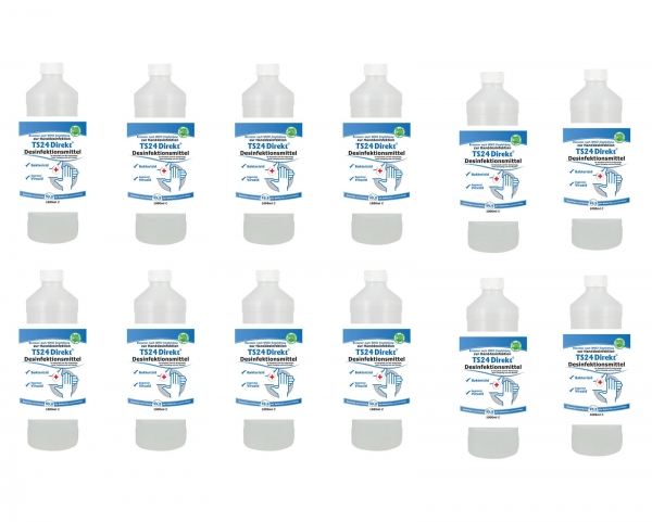 12 x Desinfektionsmittel 1000 ml - WHO Rezeptur - Hände & Flächen