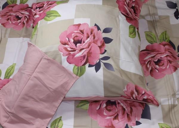 Bettwäsche Mikronesse Elena 135 x 200cm Peach Blumen rosa