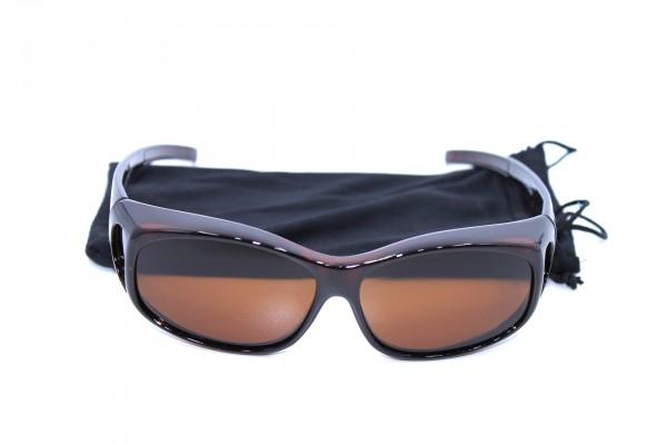 Überbrille - Sonnenbrille Polarisierend Braun klein 2er Set