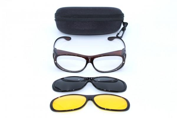 Überbrille - magnetische Überziehbrille 2 in 1 braun