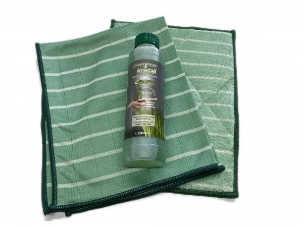 Bambus-Kristall 6er Hygiene-Set PREMIUM XL - 3 Poliertuch & 2 Wischtuch + Reiniger 1000ml