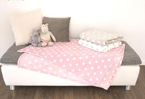 Baby Kuscheldecke 100 x 150 cm - Herzen rosa - creme