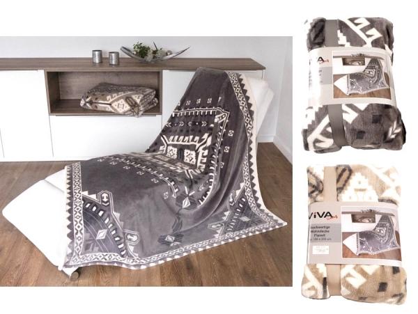 Kuscheldecke Wohndecke Flanell 150x200cm beige Motivdruck