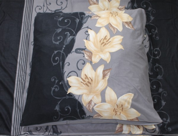Wendebettwäsche Mikronesse Lilie Grau/Silber Fleece 135 x 200cm 4 teilig