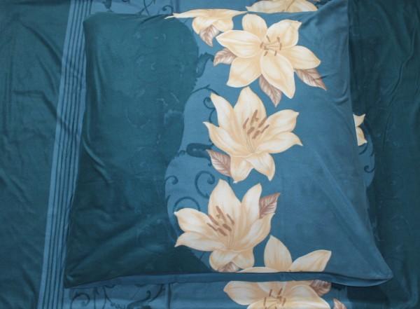 Wendebettwäsche Mikronesse Lilie Petrol Fleece 135 x 200cm 4 teilig