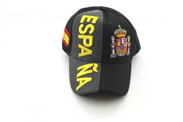 EM/WM Baseballcap Spanien Schwarz 3D Optik