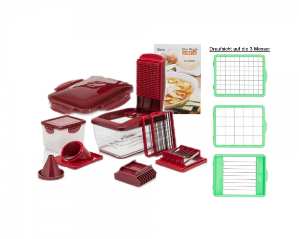 Genius Nicer Dicer Chef S Deluxe 13-teilig Rot B-Ware