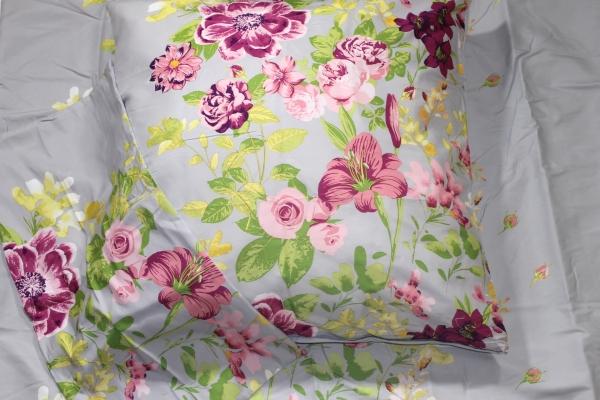Bettwäsche Mikronesse 3tlg Set 135 x 200cm Peach Blumen Silber