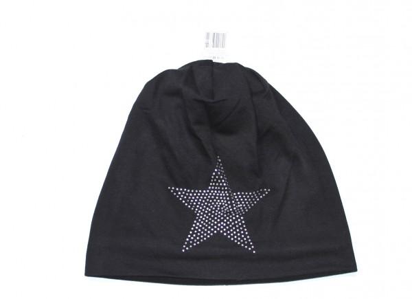 Stern Beanie Mütze mit Strass Schwarz