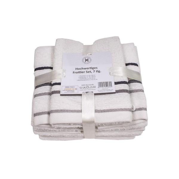 Frottier Handtuch-Duschtuch-Gästetuch-Waschlappen Set 7tlg weiß
