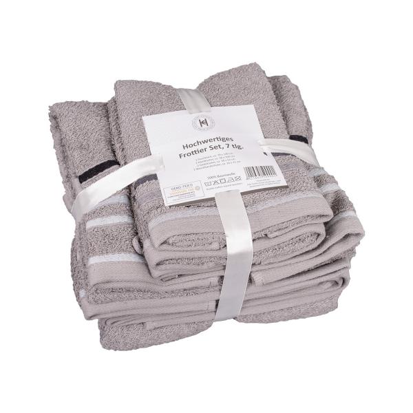Frottier Handtuch-Duschtuch-Gästetuch-Waschlappen Set 7tlg hell grau