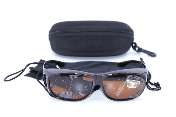 Überbrille - Sonnenbrille Polarisierend Braun Flexbügel